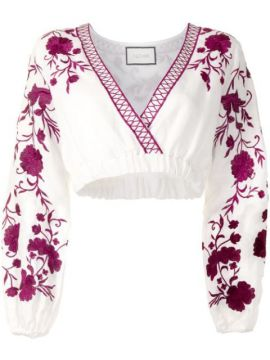 Caja Floral-embroidered Linen Top - Alexis