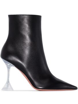 Georgia 95mm Leather Ankle Boots - Amina Muaddi