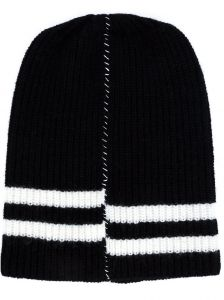 striped detail ribbed beanie  Raf Simons