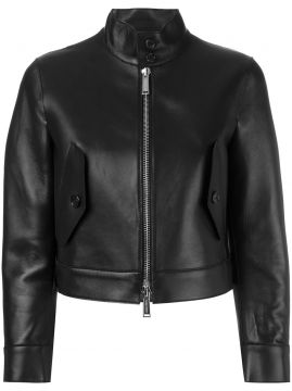 cropped leather jacket Dsquared2