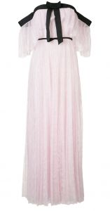 off-shoulder pleated lace gown Giambattista Valli