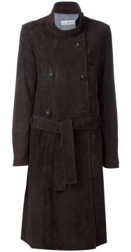 Trench coat de couro com cinto Golden Goose Deluxe Brand