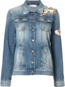 Jaqueta jeans com patches Red Valentino
