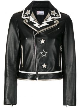 Jaqueta biker com patches Red Valentino