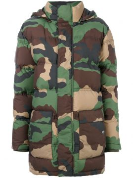 padded camouflage jacket Moschino