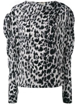 Blusa leopardo de seda Saint Laurent