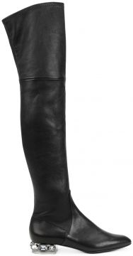 embellished heel over-the-knee boots Casadei