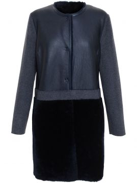 constrast shearling coat Yves Salomon