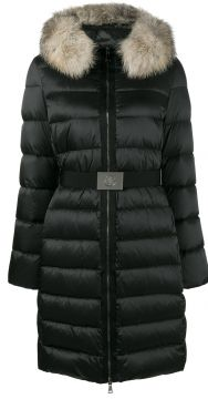Faux fur collar puffer coat Moncler