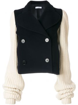 chunky knit sleeve peacoat J.W.Anderson