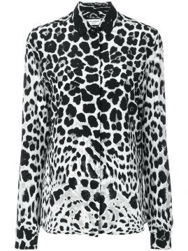 Blusa de seda animal print Saint Laurent