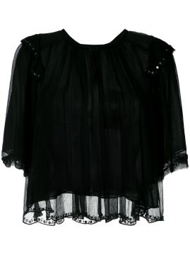 Blusa franzida com bordado Animale