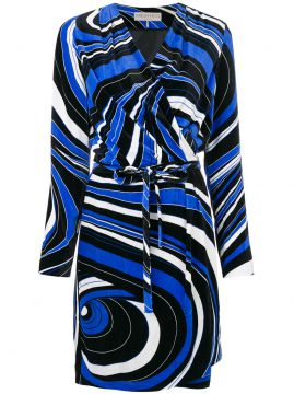 abstract pattern wrap dress Emilio Pucci