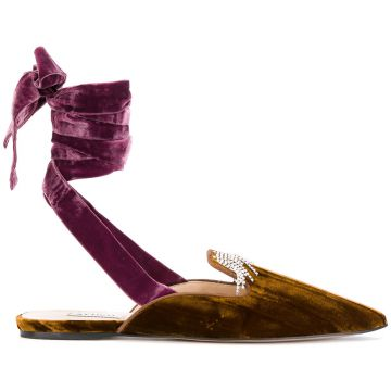 embroidered ankle tie slippers Attico