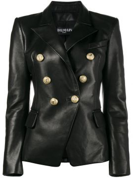 double breasted leather blazer Balmain