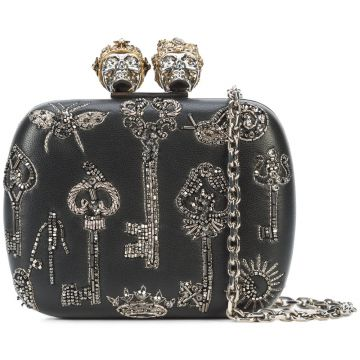 Clutch  Queen and King  de couro Alexander McQueen