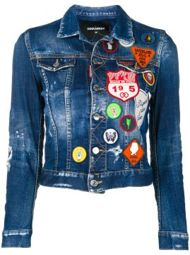 Jaqueta jeans com patches Dsquared2