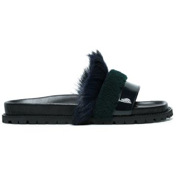 leather and fur slippers Sacai