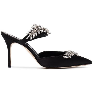 Black Satin Lurum Crystal 90 Mules Manolo Blahnik