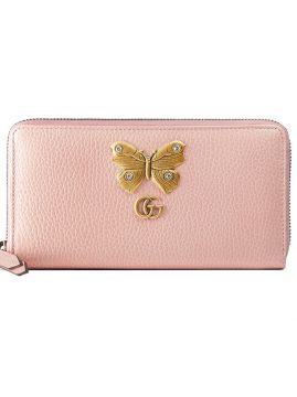 Leather zip around wallet with butterfly Gucci