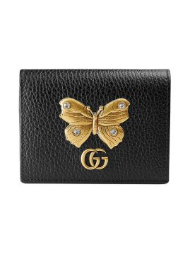 Leather card case with butterfly Gucci