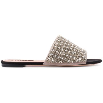 Flat jewelled slides with leather soles Rochas