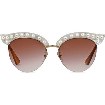 Cat eye acetate sunglasses with pearls Gucci