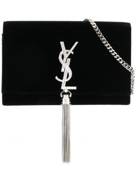 Clutch Kate de couro e veludo Saint Laurent
