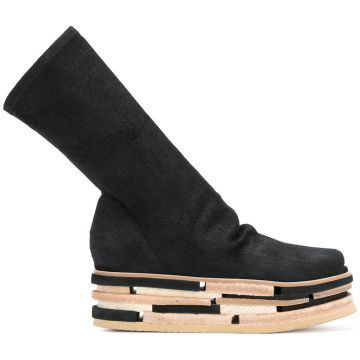 Stacked Platform High Ankle Boots - Rick Owens