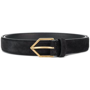 Cinto De Couro Com Fivela Triangular - Saint Laurent