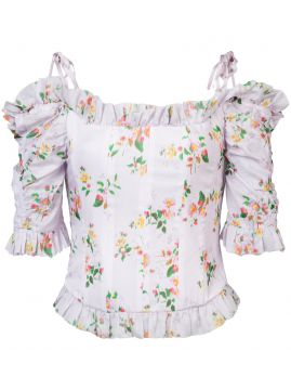 Floral Print Dropped Shoulders Corset Blouse - Brock Collect