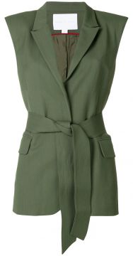 Belted Sleeveless Wrap Jacket - Noon By Noor