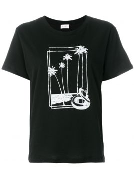 Palm Tree Print T-shirt - Saint Laurent