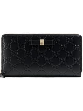 Bow Gucci Signature Zip Around Wallet