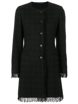 Plaid Fringed Coat - Tagliatore