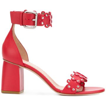 Ankle Strap Flower Sandals - Red Valentino