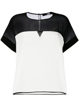Blusa De Seda Color Block - Karl Lagerfeld