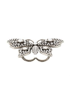 Anel Duplo butterfly Com Cristais - Gucci