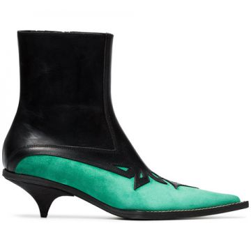 Black And Green Laser Cut 50 Leather Boots - Haider Ackerman