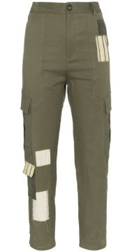 Green Combat Trousers With Patchwork - 78 Stitches