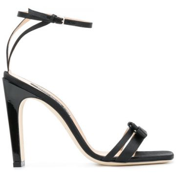Satin Ankle Strap High Heeled Sandal - Sergio Rossi