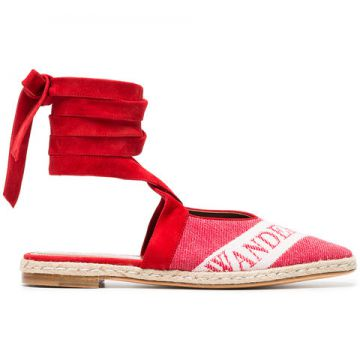 Ruby Red Logo Ballerina Leather Espadrilles - Jw Anderson