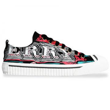 Doodle Print Coated Cotton Sneakers - Burberry