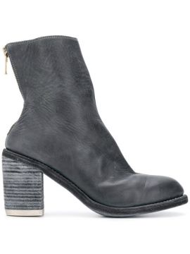 Back Zip Ankle Boots - Guidi