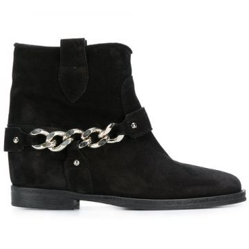 Chain Embellished Ankle Boots - Via Roma 15