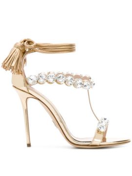 Embellished Ankle Tie Sandals - Paula Cademartori