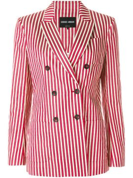 Striped Double-breasted Blazer - Giorgio Armani