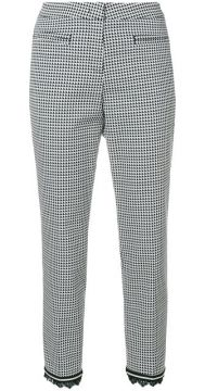 Fringed Hem Houndstooth Trousers - Cambio