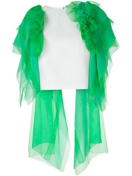 Ruffled Tulle Cropped Blouse  - Delpozo