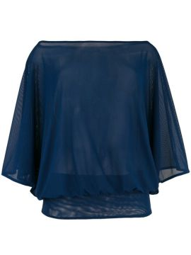 Boat Neck Sheer Blouse - Fisico